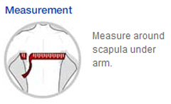 Image result for Measure around scapula under arm