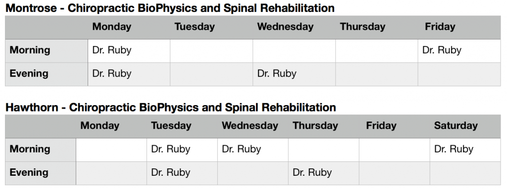 Dr Ruby New Hours 2