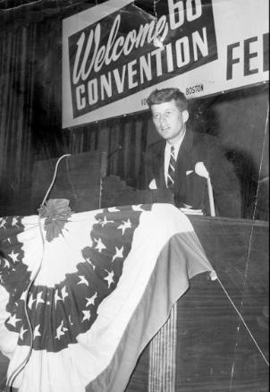 WORCESTER, MA - AUGUST 4: Senator John F. Kennedy addresses the State Federation of Labor Convention in Worcester, Mass., on Aug. 4, 1954. Kennedy is on crutches due to a recurrence of a wartime injury. (Photo by Charles Dixon/The Boston Globe via Getty Images)