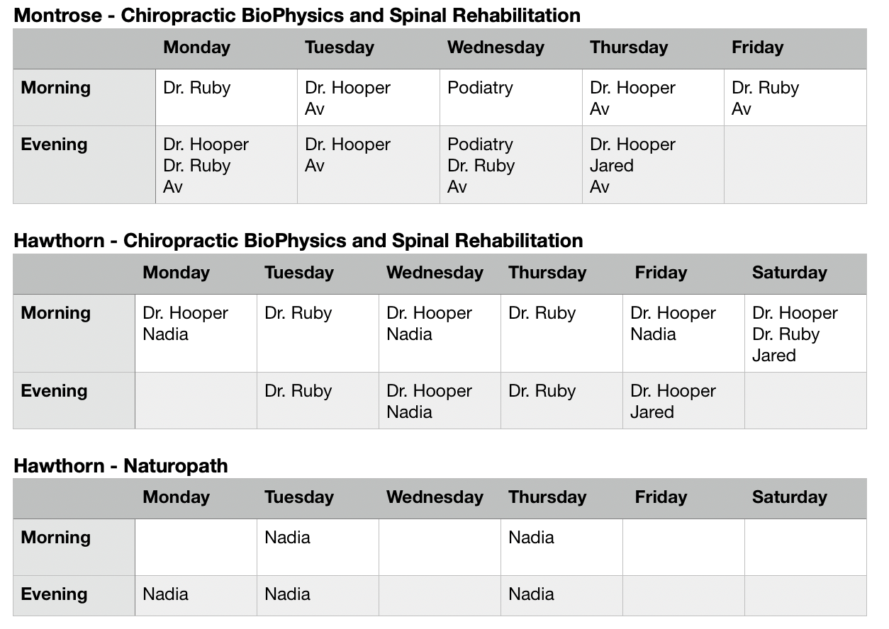 Spinal Centre New Hours (Updated)